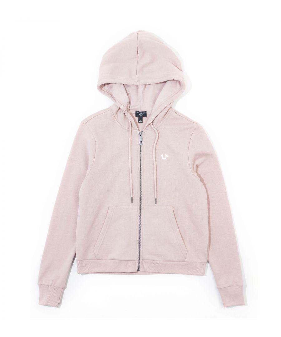 Image for True Religion Womens Logo Zip Hoodie - Dusty Pink