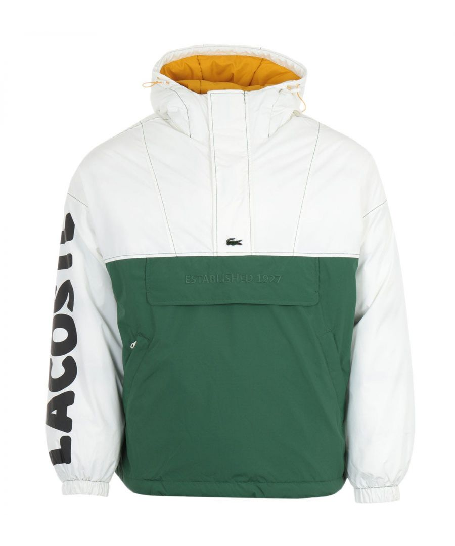 Image for Lacoste Live Colour Block Pullover Hooded Jacket - White & Green