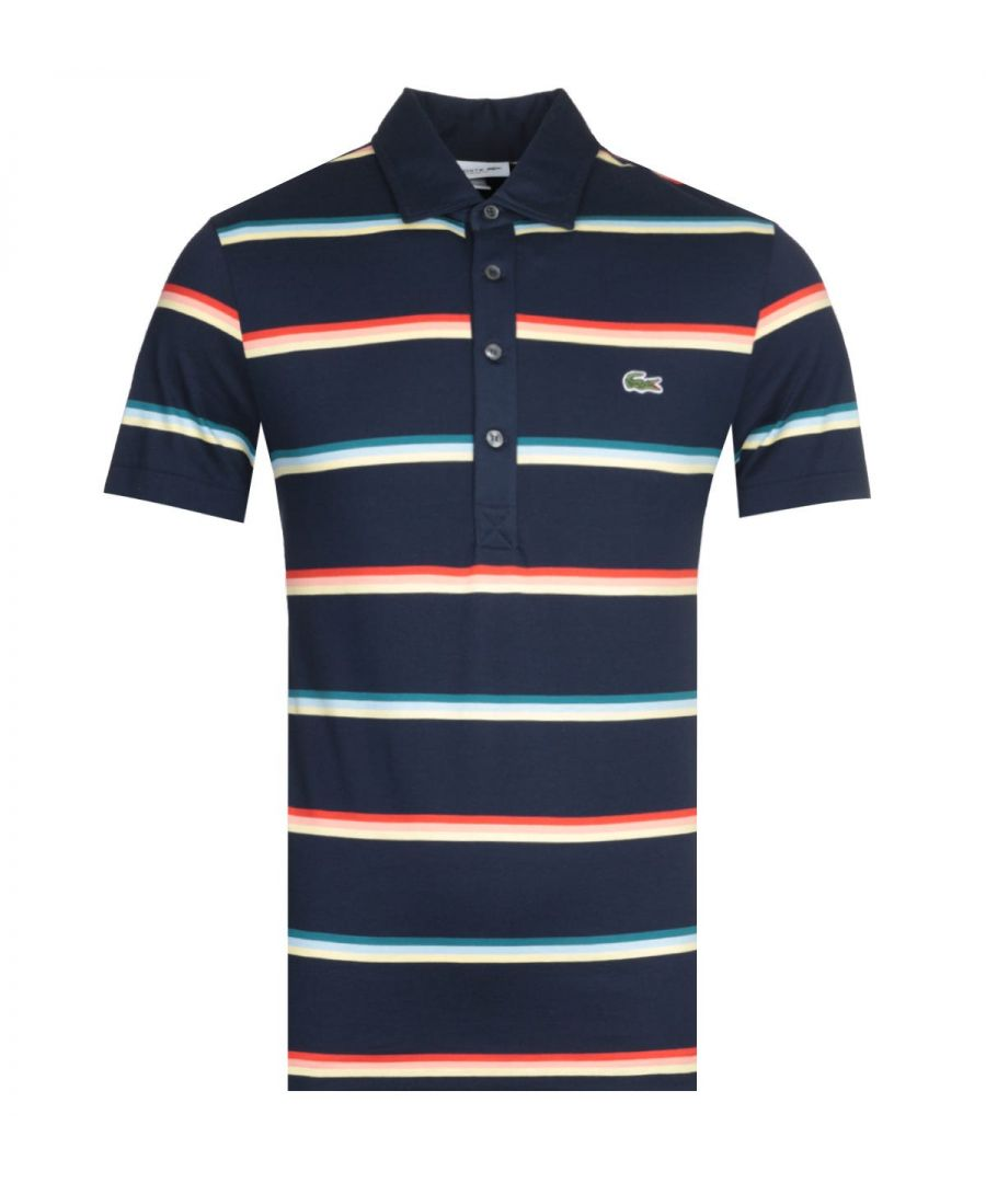 Image for Lacoste Stripe Navy MC Homme Polo Shirt