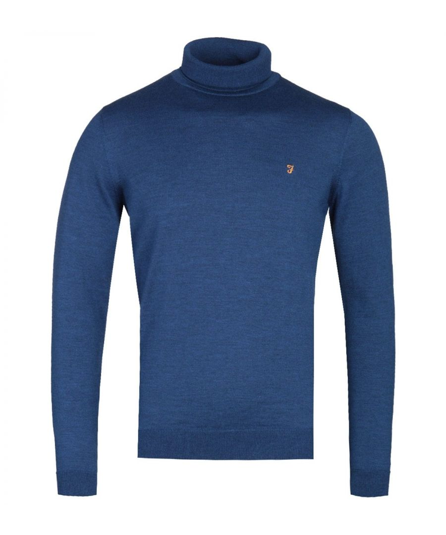 Image for Farah Gosforth Blue Peony Marl Merino Rollneck Sweater