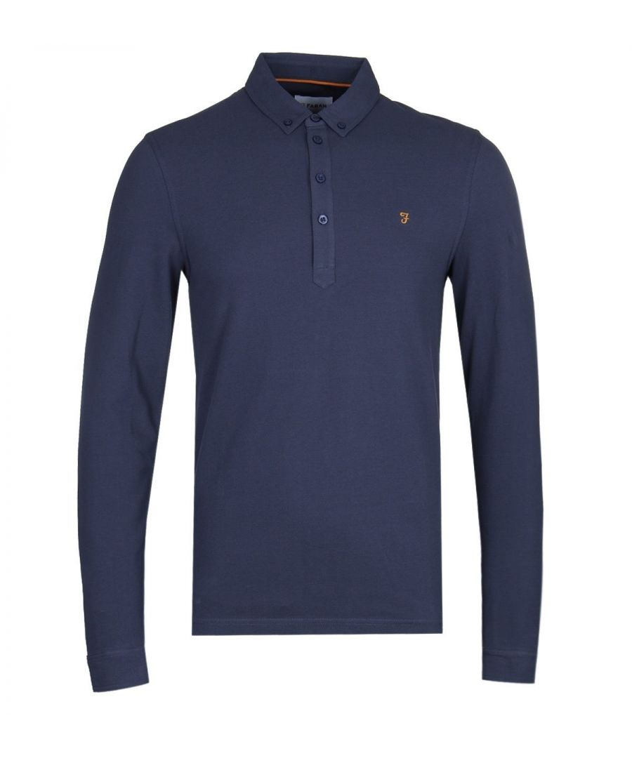 Image for Farah Merriweather Navy Long Sleeve Pique Polo Shirt
