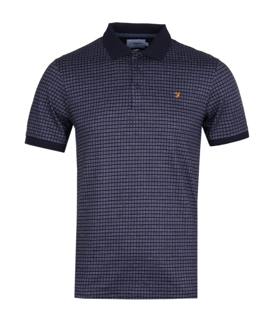 Image for Farah Gantel Jacquard True Navy Polo Shirt