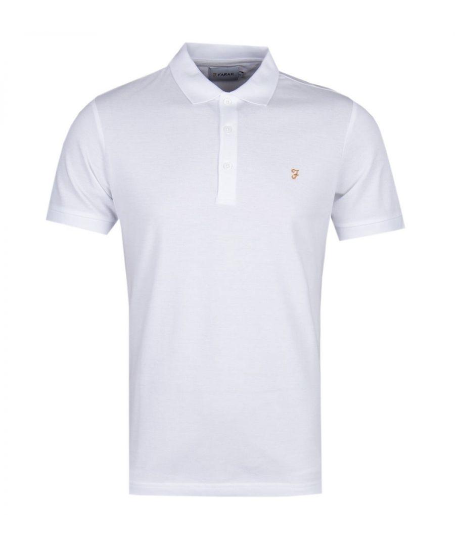 Image for Farah Blaney White Pique Polo Shirt