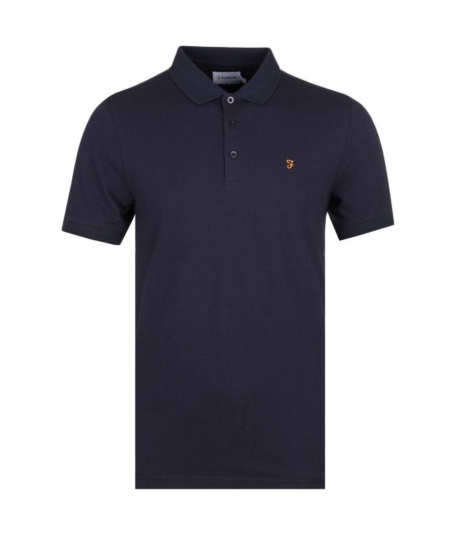 Image for Farah Blaney Navy Pique Polo Shirt