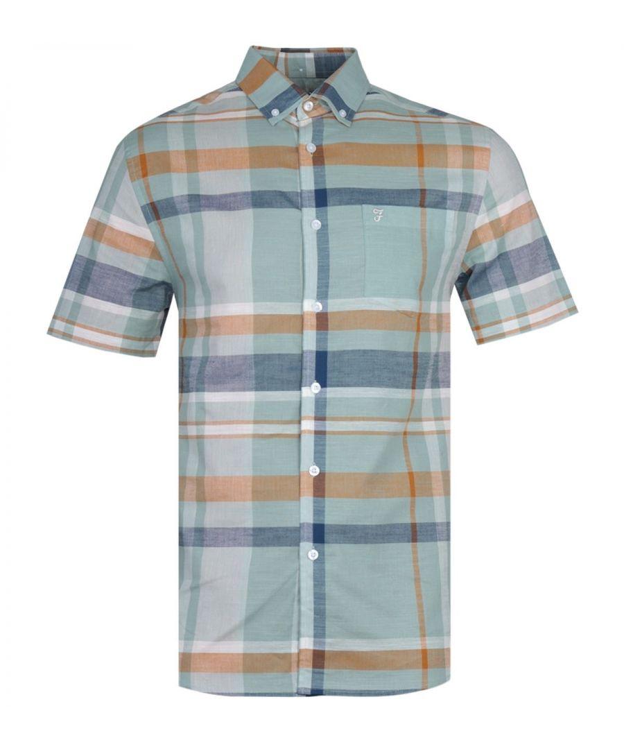 Image for Farah Farron Modern Fit Pastel Green Checked Short Sleeve Shirt