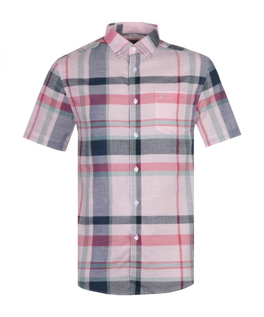 Image for Farah Farron Modern Fit Pastel Pink Checked Short Sleeve Shirt