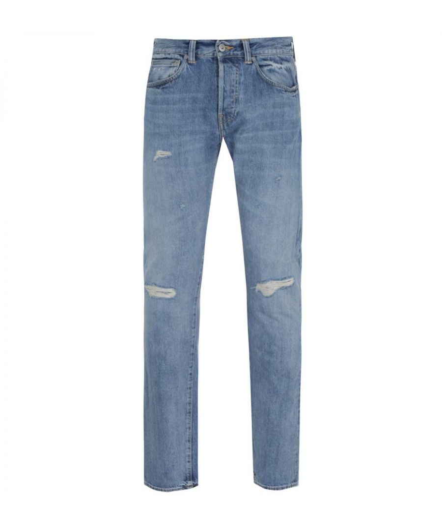 Image for Edwin ED-80 Slim Tapered 63 Rainbow Selvage Distressed Light Blue Denim Jeans