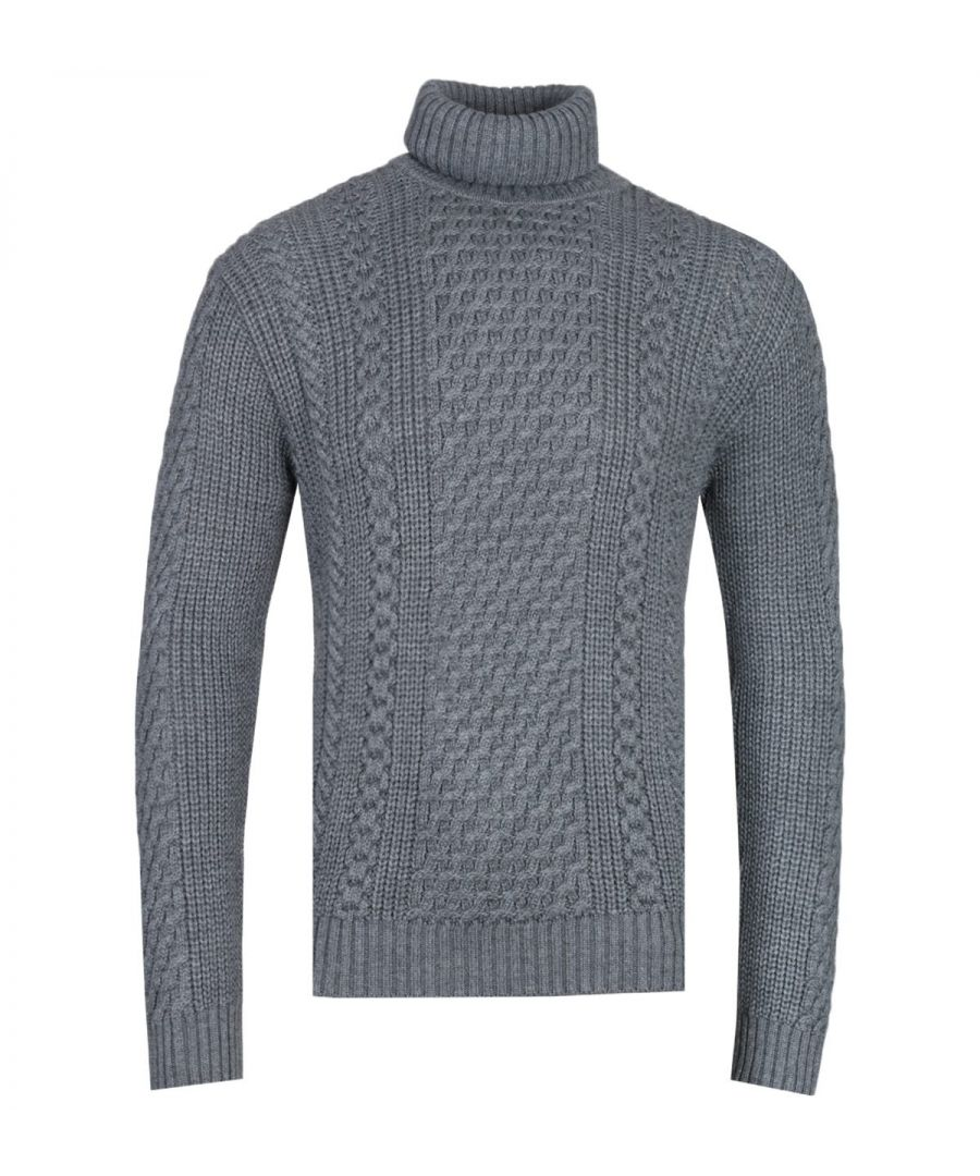 Image for Edwin United Grey Heather Roll-Neck Sweater