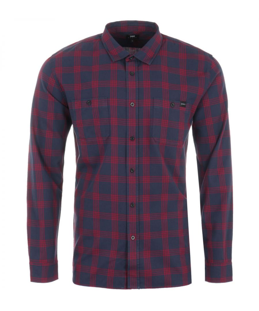 Image for Edwin Checked Labour Shirt - Navy & Aurora Red