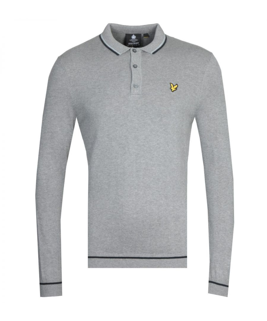Image for Lyle & Scott Twin Tipped Grey Marl Knitted Long Sleeve Polo Shirt