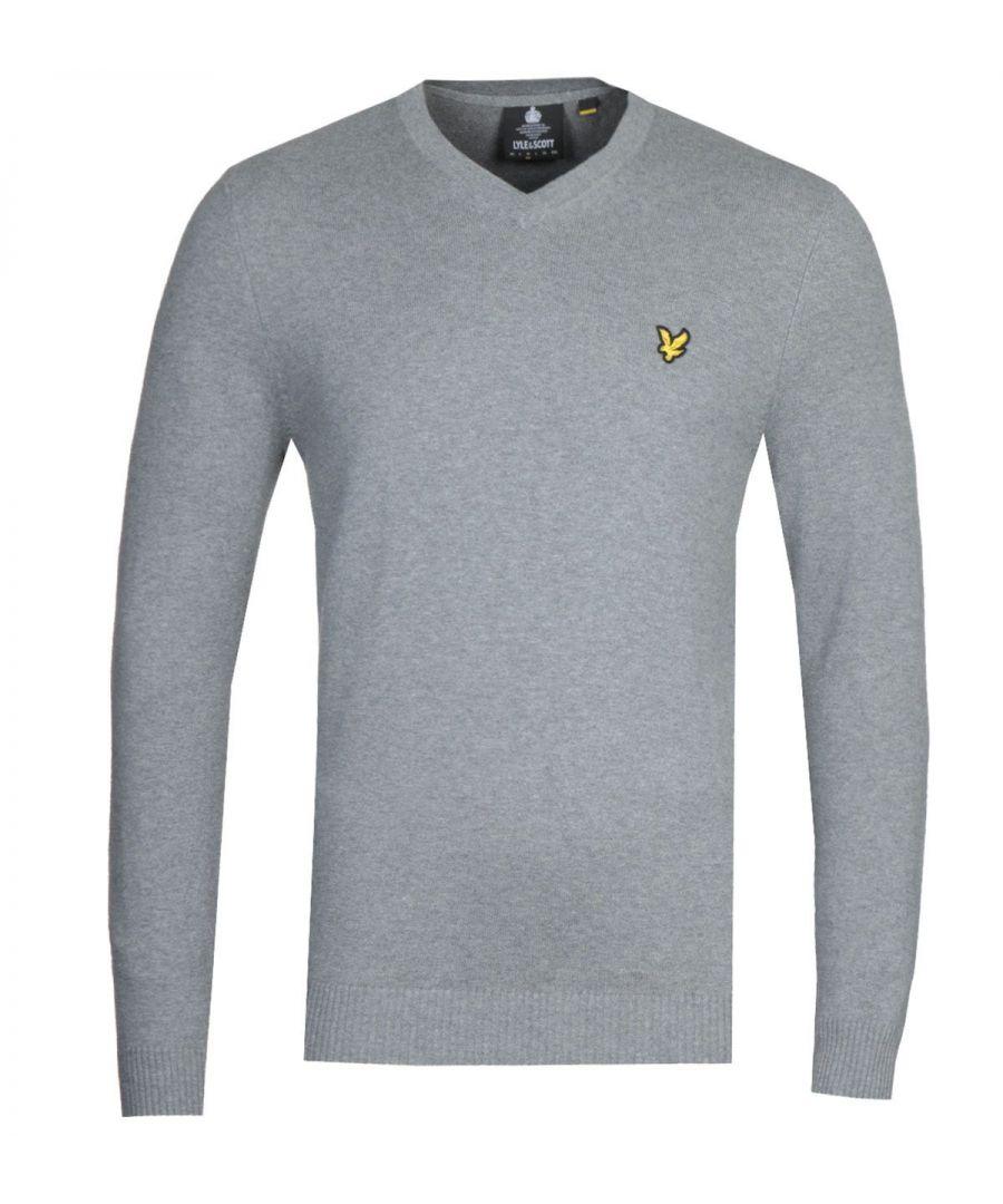 Image for Lyle & Scott V-Neck Merino Cotton Grey Marl Sweater