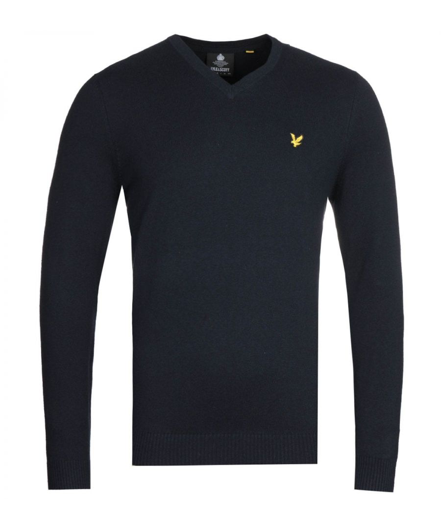 Image for Lyle & Scott V-Neck Merino Cotton Dark Navy Sweater
