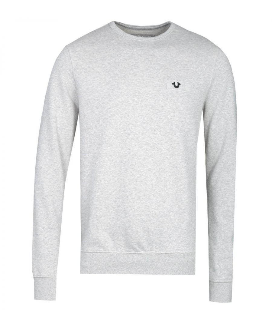 Image for True Religion Metallic Horseshoe Grey Crew Neck Sweatshirt