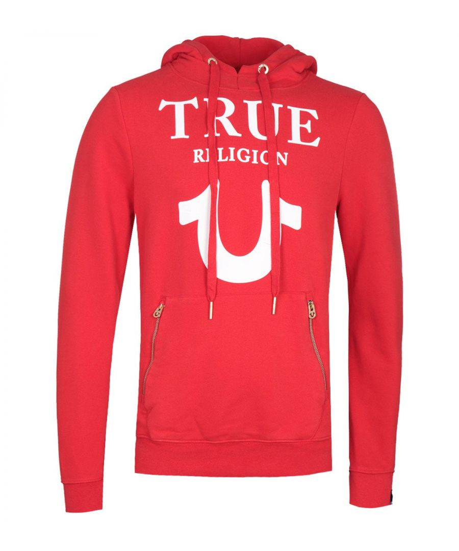 Image for True Religion Puffy Print Red Pullover Hoodie