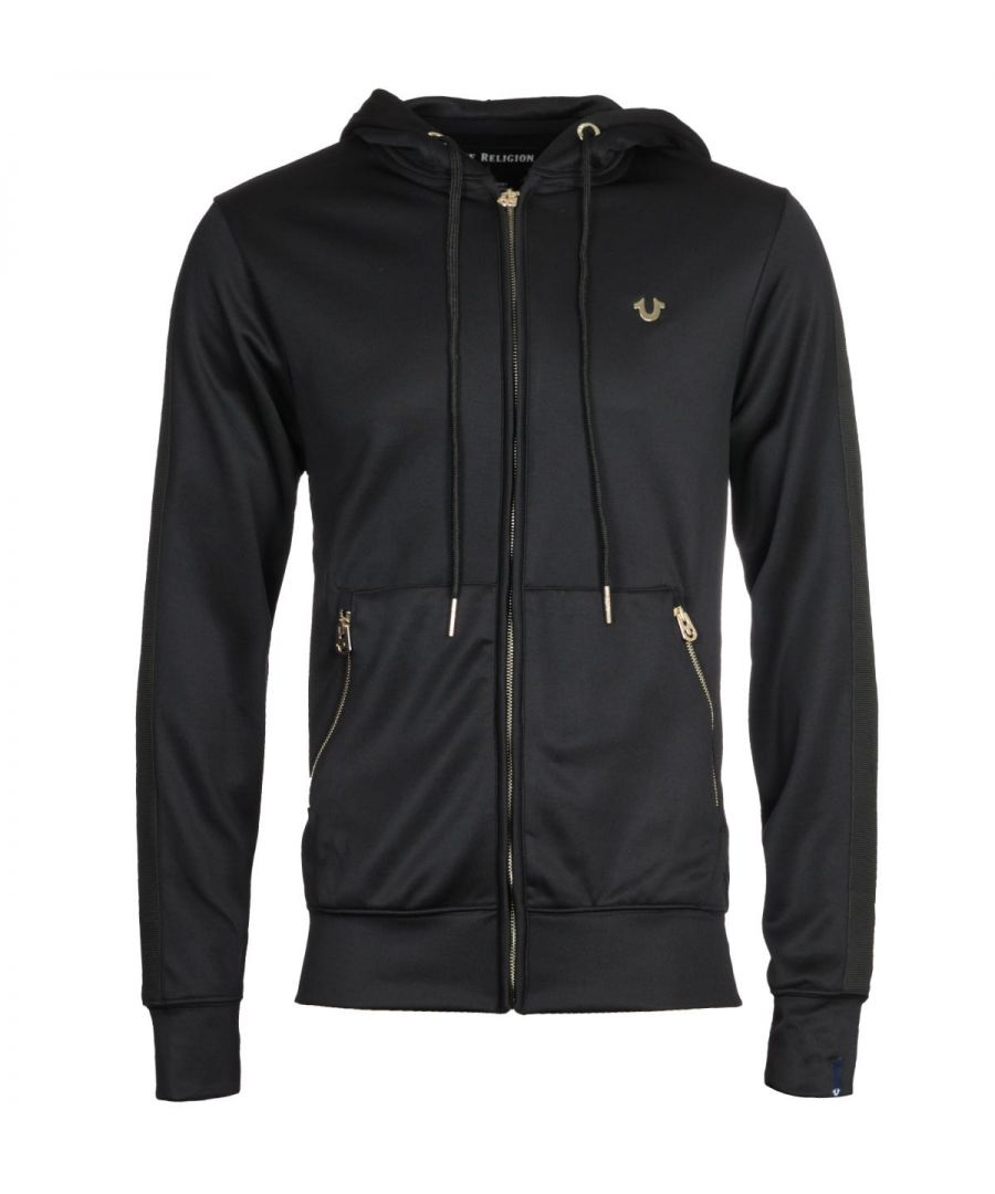 Image for True Religion Zip-Through Gold Logo Black Hooded Sweatshirt