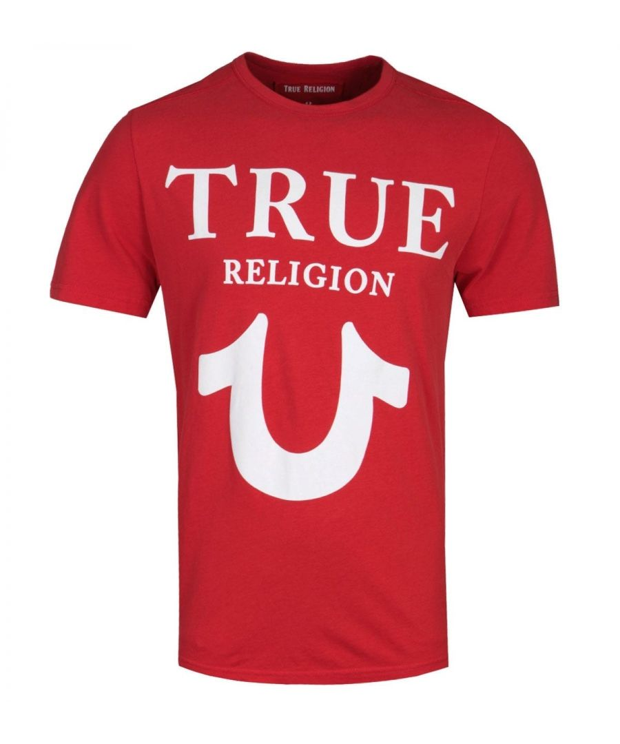 Image for True Religion Puff Logo Print Red T-Shirt