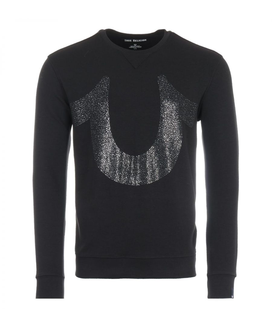 Image for True Religion Diamond Stones Horseshoe Logo Sweatshirt - Black