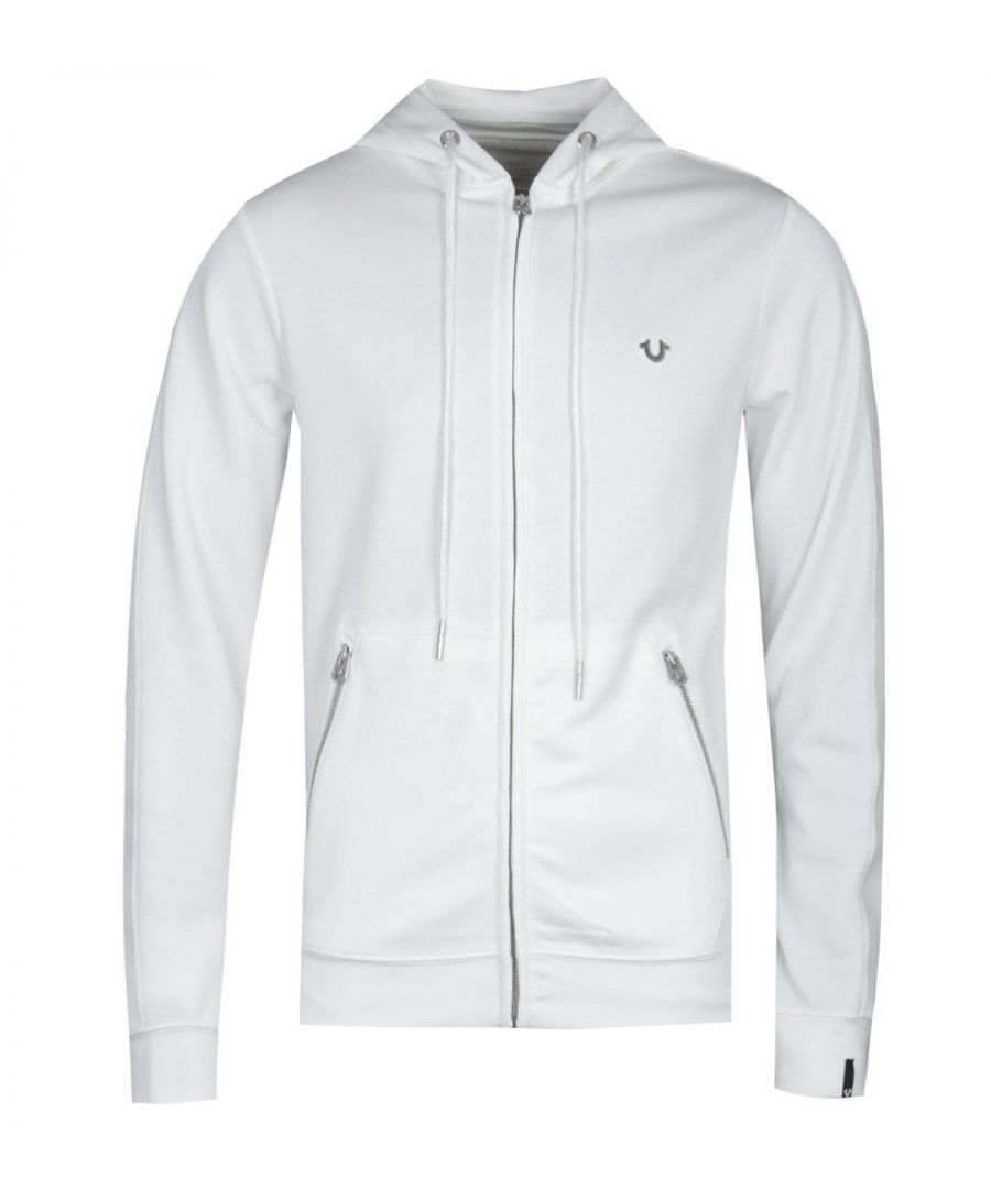 Image for True Religion Horseshoe Logo Zip-Through White Hoodie