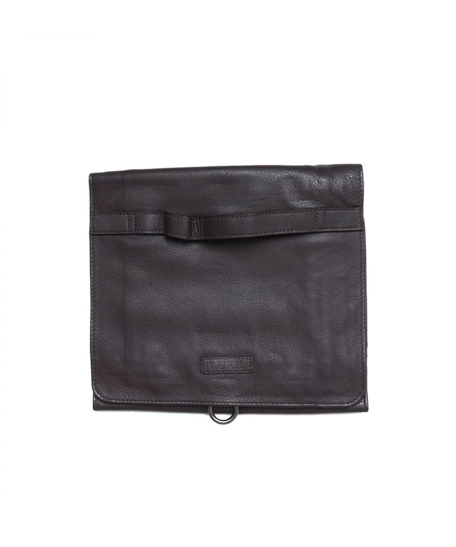 Image for Luke 1977 Lorenzo Roll Down Brown Leather Wash Bag