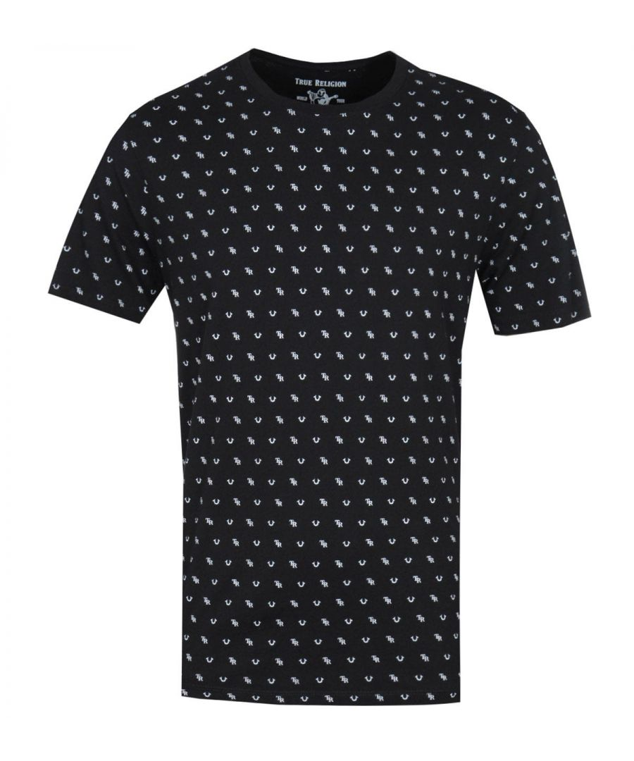 Image for True Religion Monogram Print Black T-Shirt