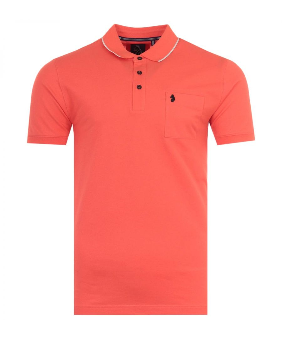 Image for Luke 1977 Billiant News Tipped Polo Shirt - Coral