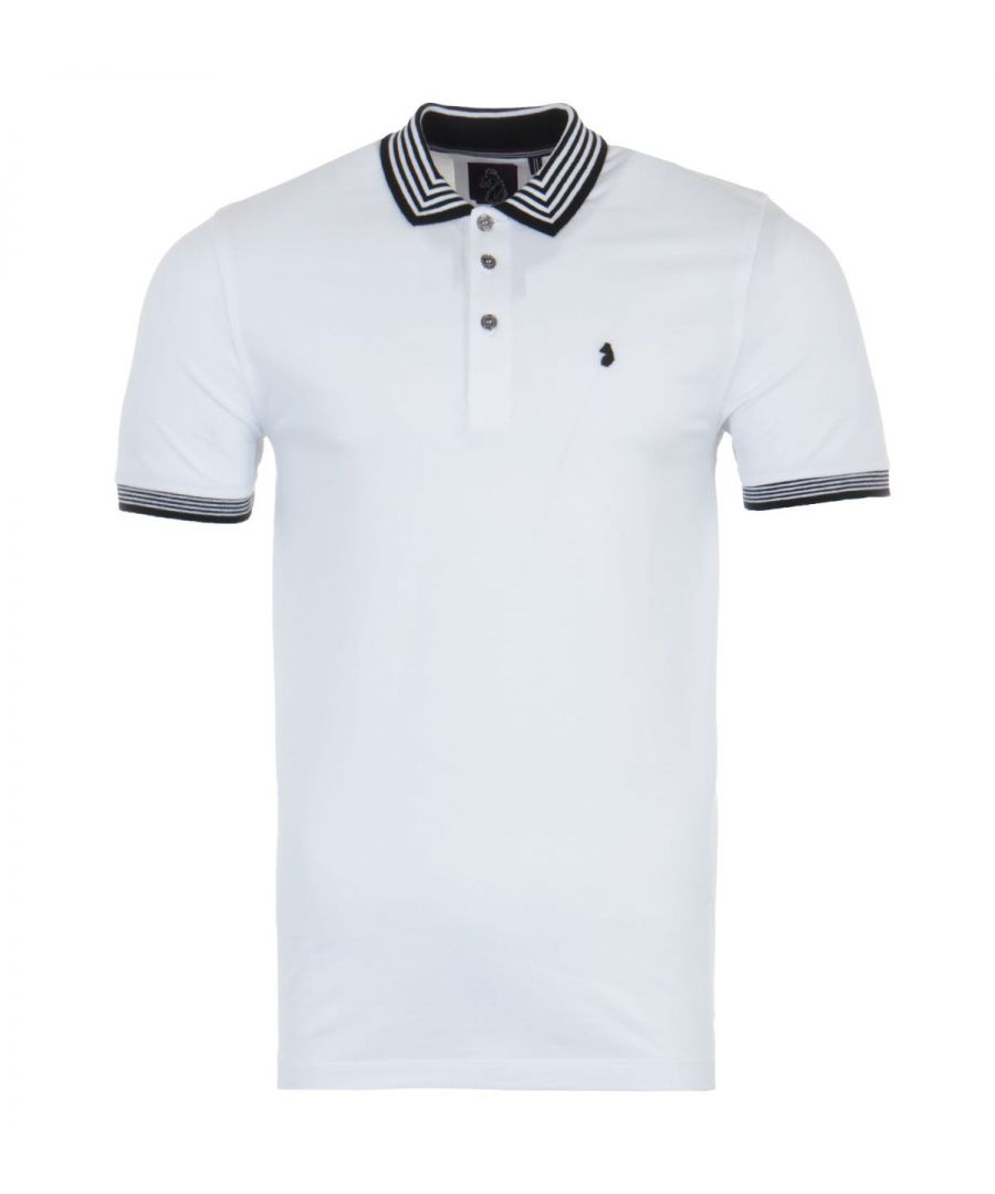 Image for Luke 1977 Round The Corner Striped Polo Shirt - White