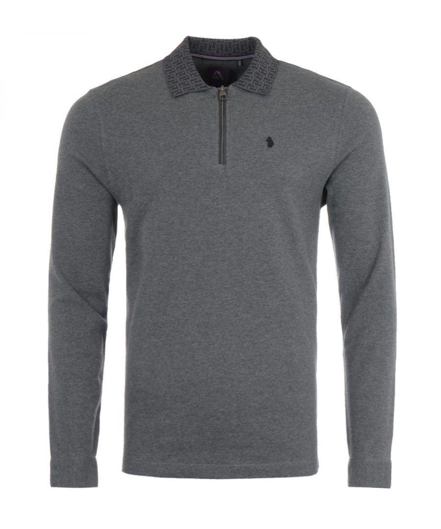 Image for Luke 1977 Jacquard Collar Zip Long Sleeve Polo Shirt - Grey