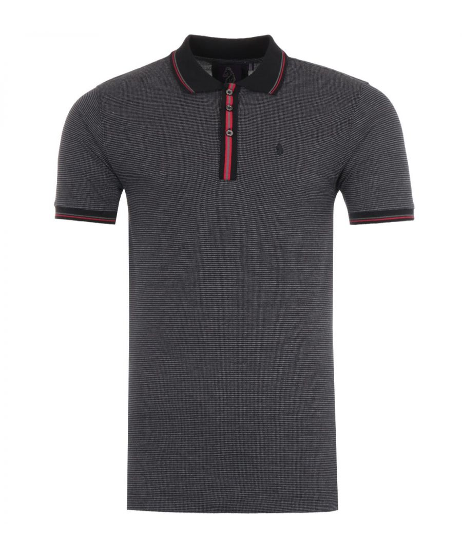 Image for Luke 1977 Homer Striped Placket Polo Shirt - Monochrome Mix