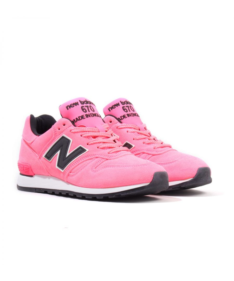 Image for New Balance 670 Made in England \'Neon Pack\' Suede Trainers - Pink