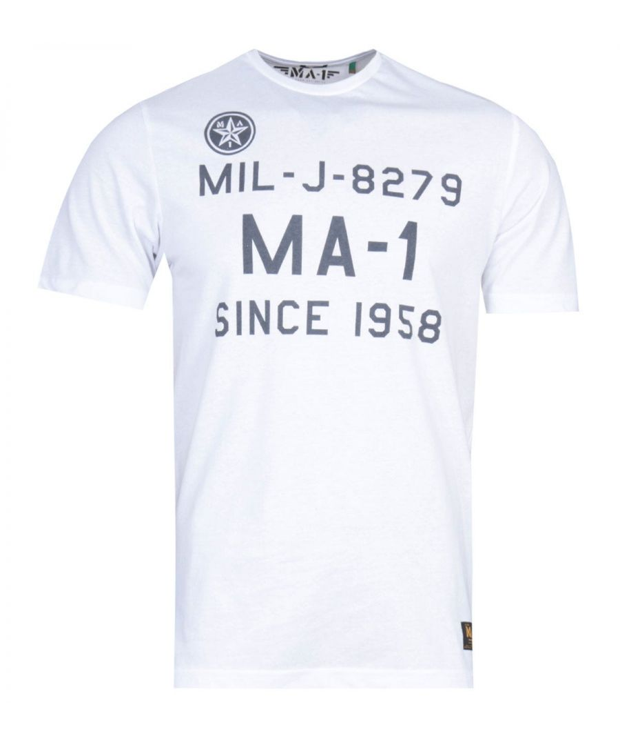 Image for MA-1 F22 Logo Print White T-Shirt