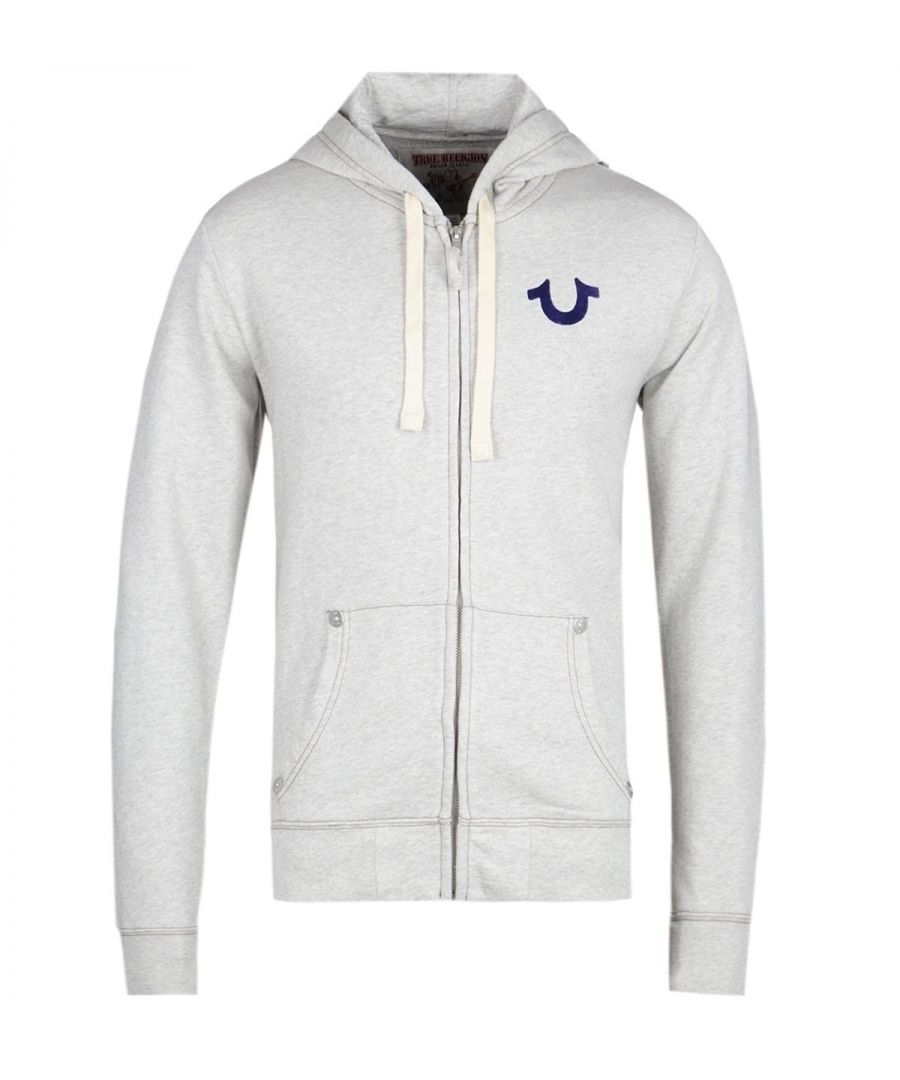 Image for True Religion Blue Logo Oatmeal Zip Hoodie