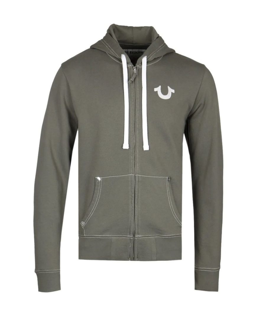 Image for True Religion Classic Logo Khaki Green Zip Up Hoodie