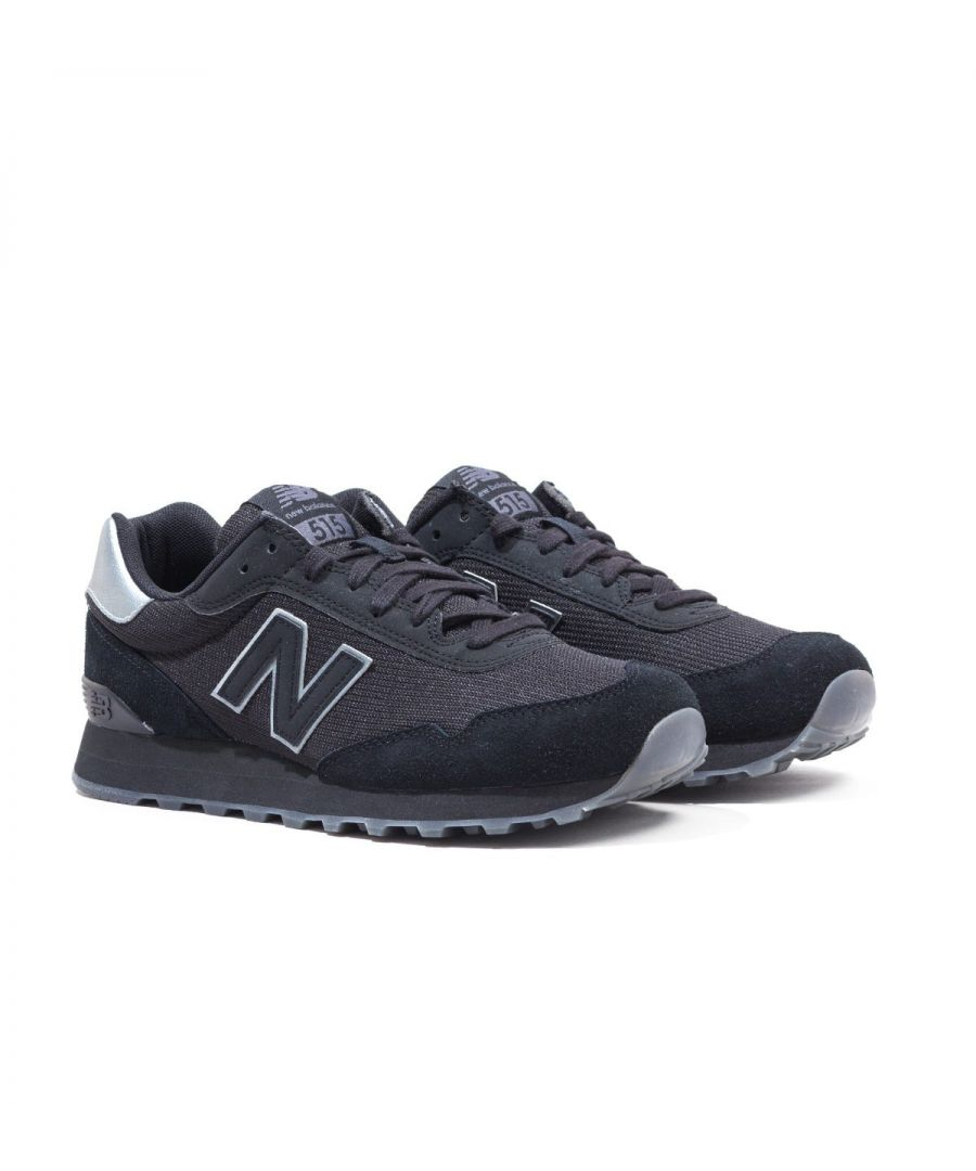Image for New Balance 515 Black & Castlerock Suede Trainers