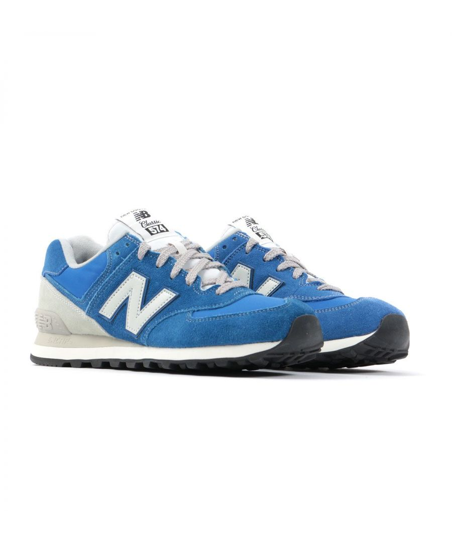 Image for New Balance 574 Suede Trainers - Blue