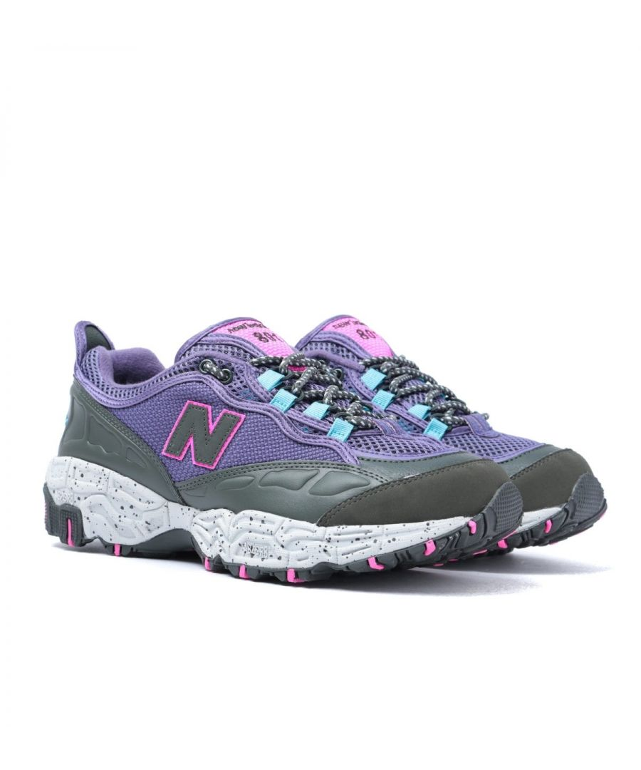 Image for New Balance 801 Violet Fluorite with Defense Green Leather Trainers