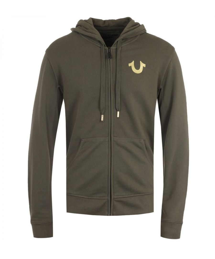 Image for True Religion Double Puff Green & Gold Zip Hooded Sweatshirt