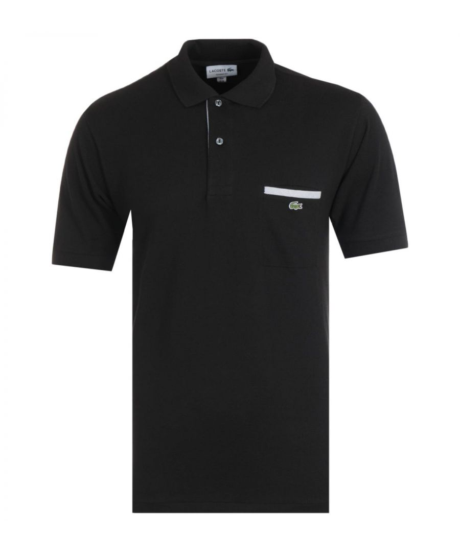 Image for Lacoste Classic Fit Chest Pocket Black Polo Shirt