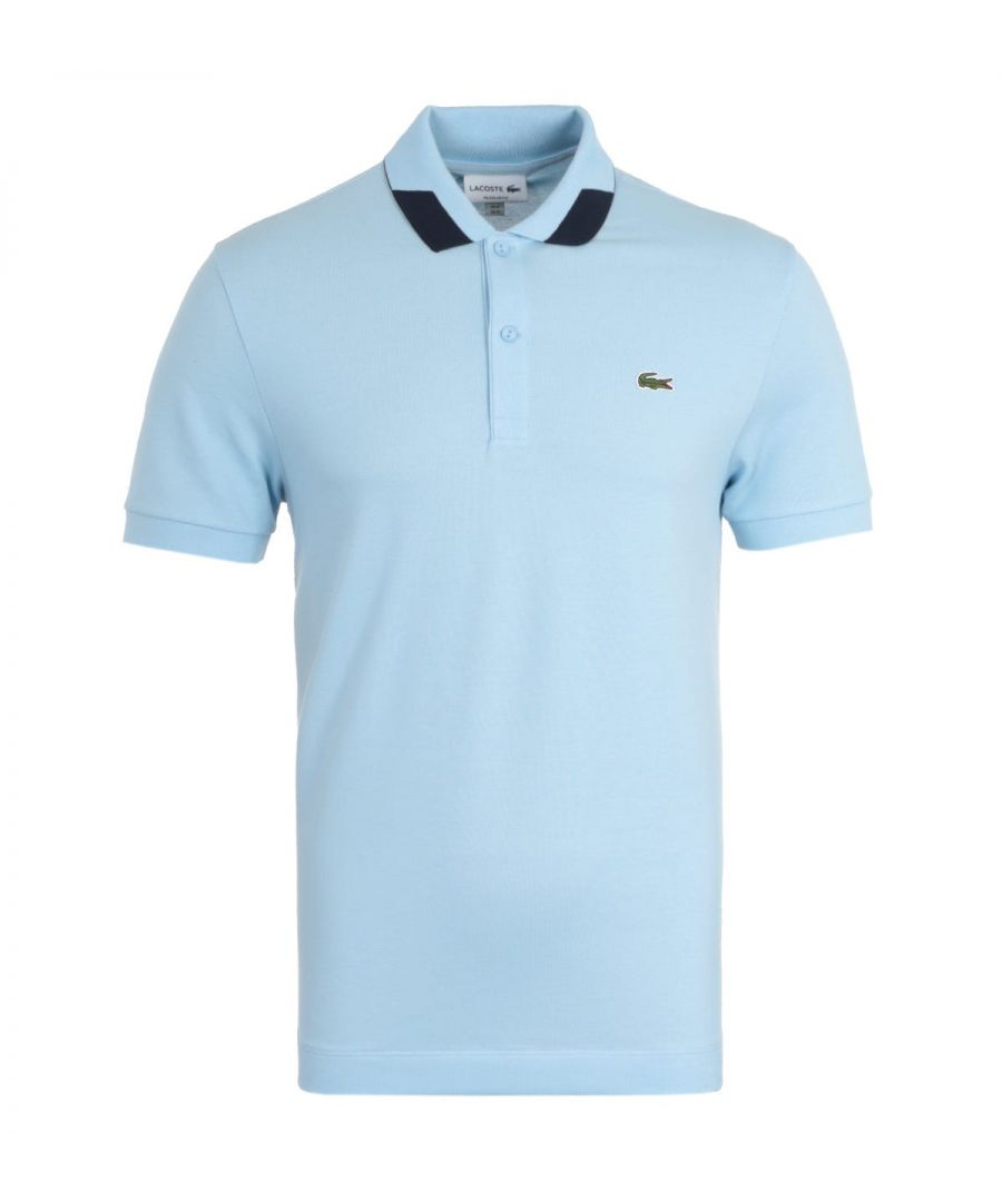 Image for Lacoste Contrast Detailed Collar Sky Blue Polo Shirt
