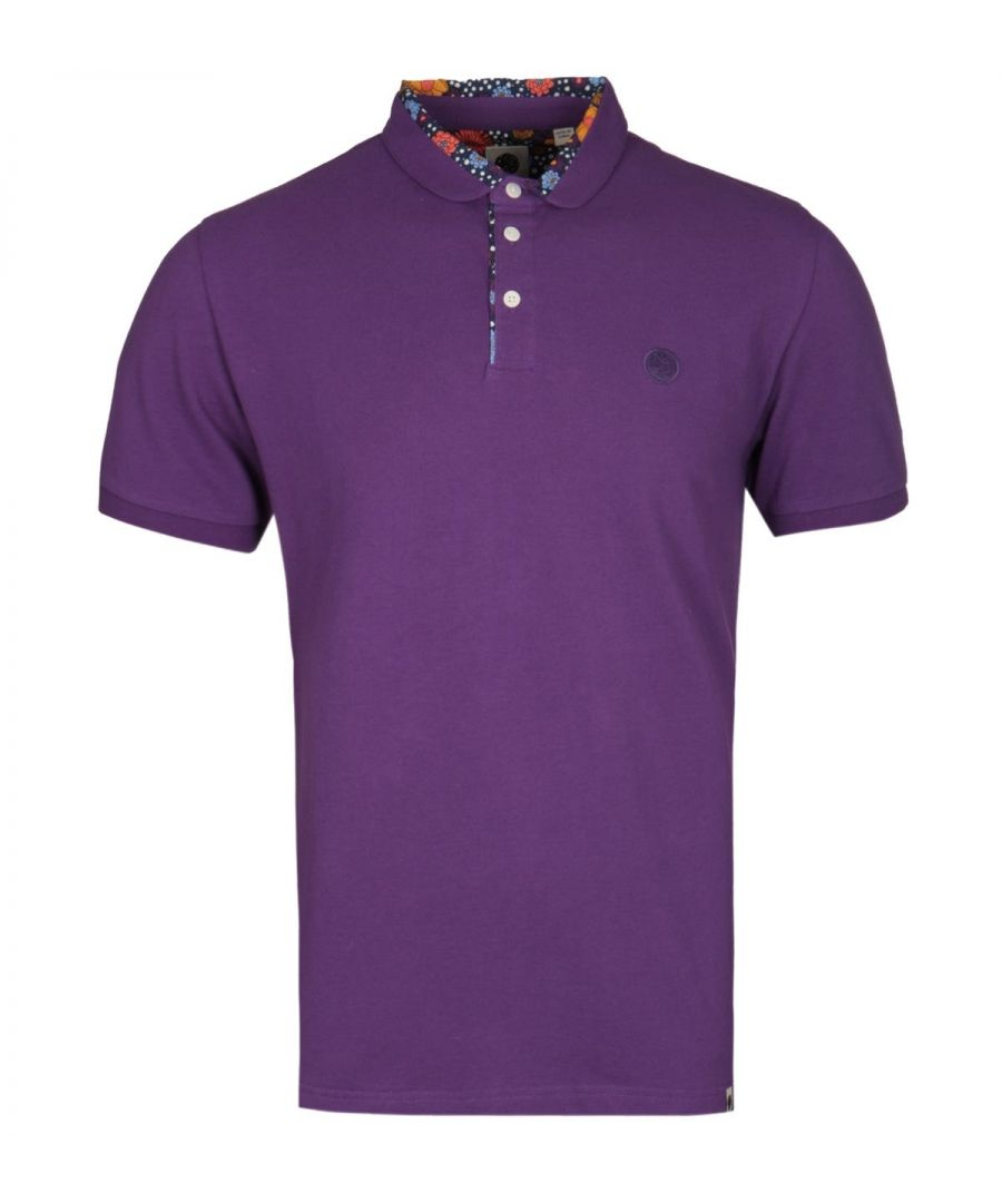 Image for Pretty Green Floral Print Purple Polo Shirt
