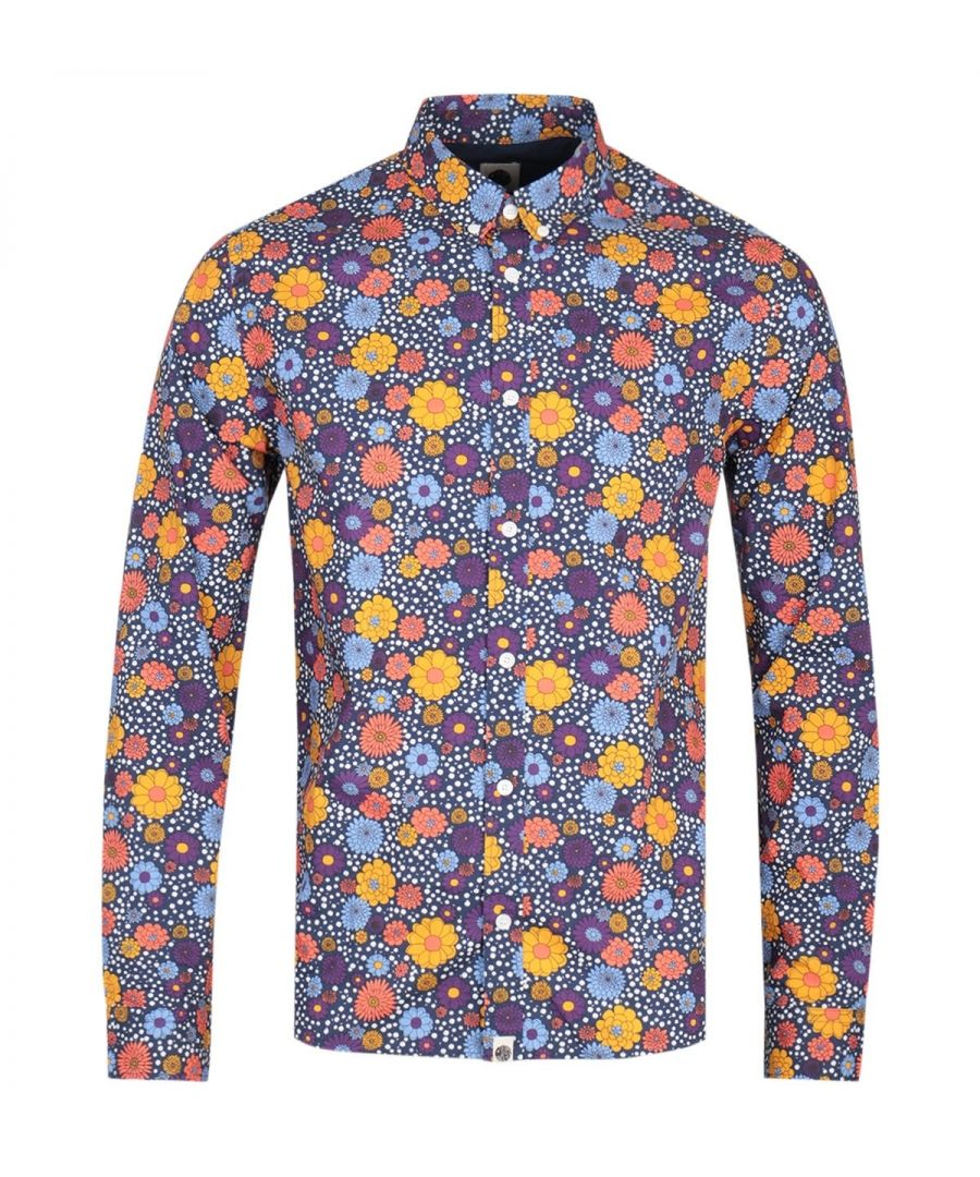 Image for Pretty Green Slim Fit Floral Print Purple Shirt