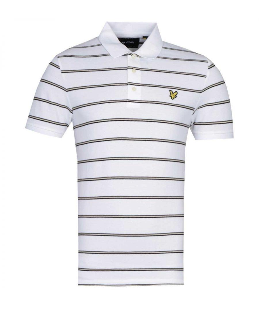 Image for Lyle & Scott Block Stripe White Polo Shirt