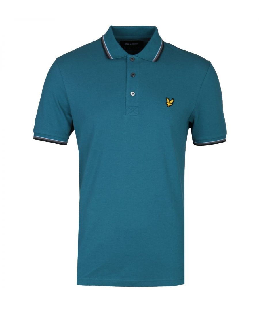 Image for Lyle & Scott Tipped Petrol Teal Regular Fit Polo Shirt
