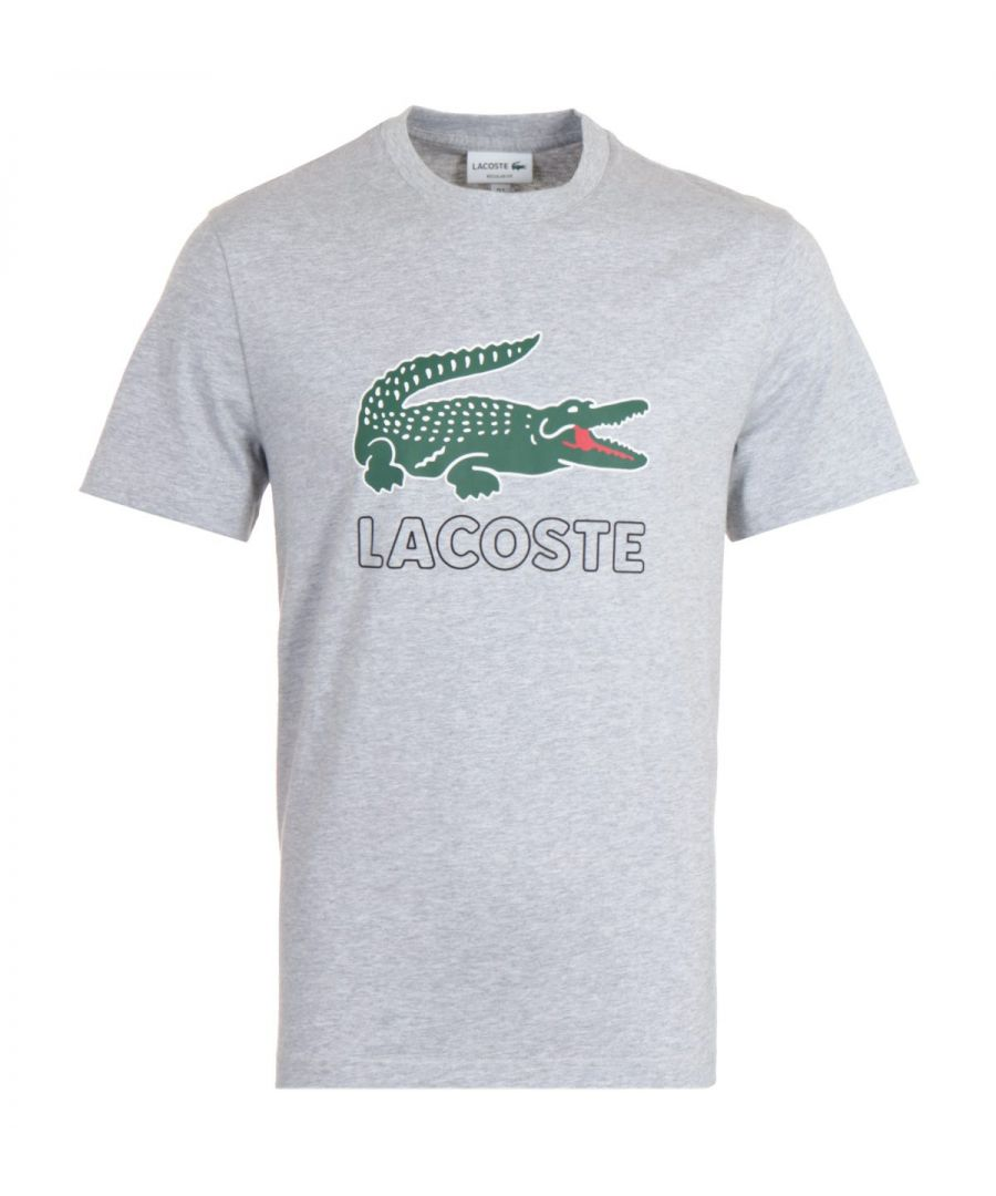 Image for Lacoste Printed Logo Crew Neck Grey T-Shirt