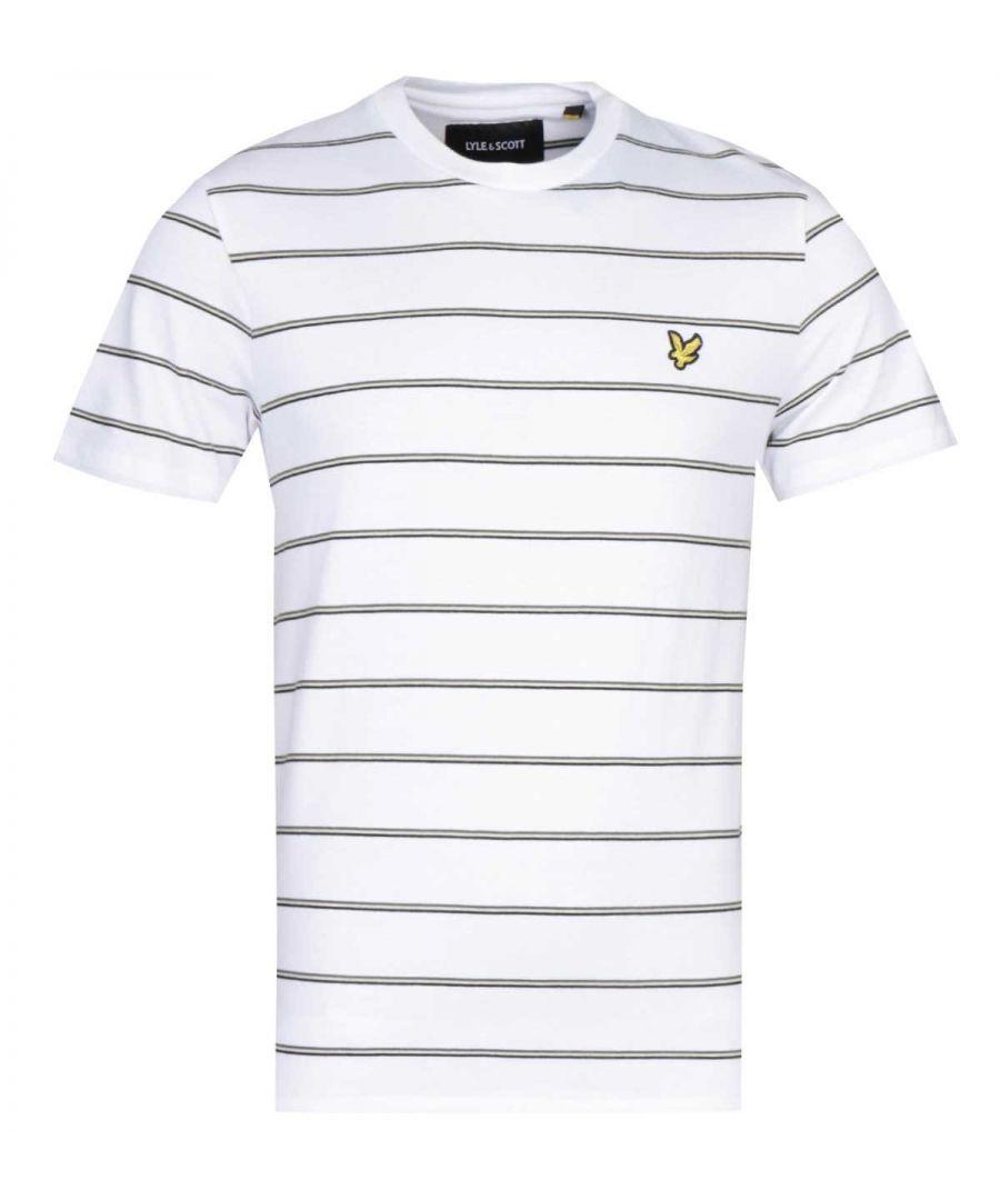 Image for Lyle & Scott Thin Stripe White T-Shirt
