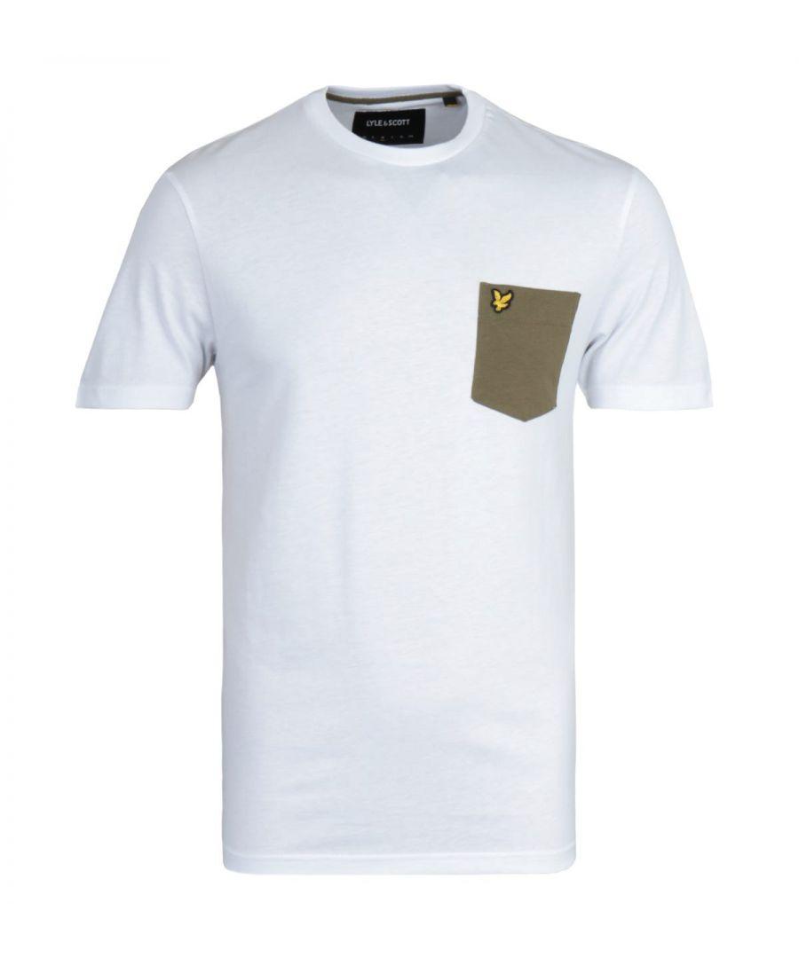 Image for Lyle & Scott Contrast Pocket White & Green T-Shirt