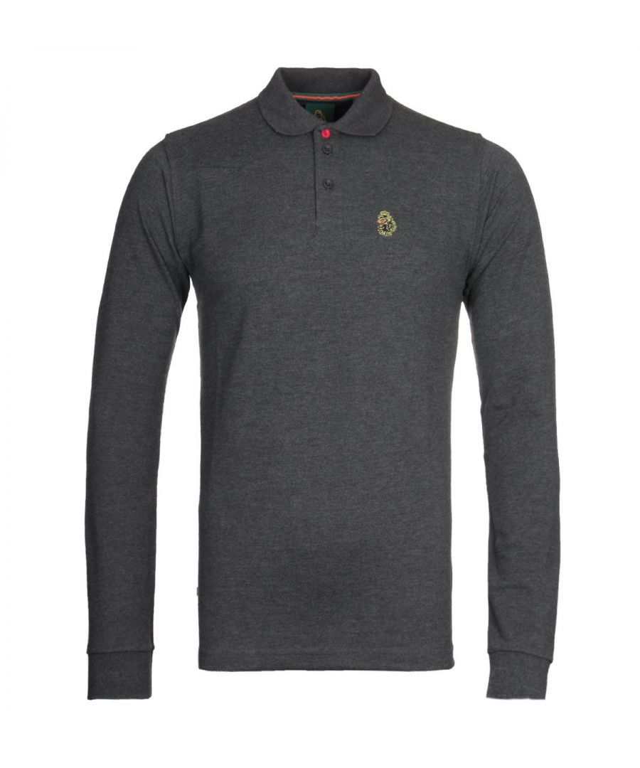 Image for Luke 1977 Williams Charcoal Long Sleeve Pique Polo Shirt