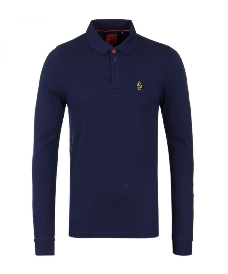 Image for LUKE 1977 Williams Navy Long Sleeve Pique Polo Shirt