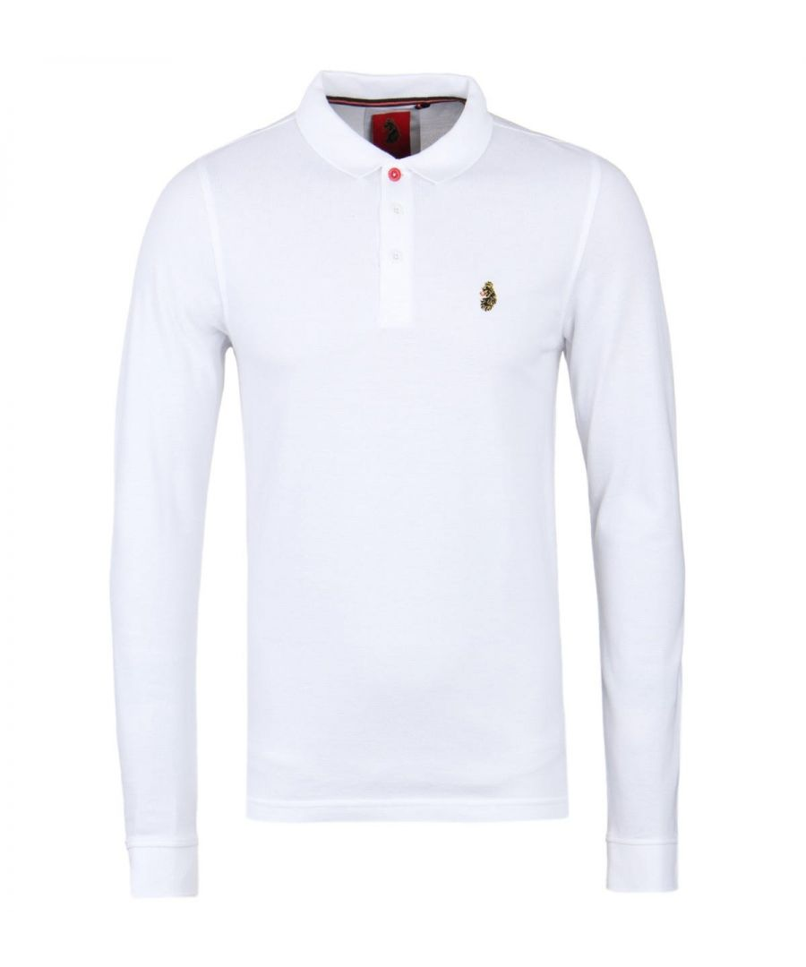 Image for LUKE 1977 Williams White Long Sleeve Pique Polo Shirt