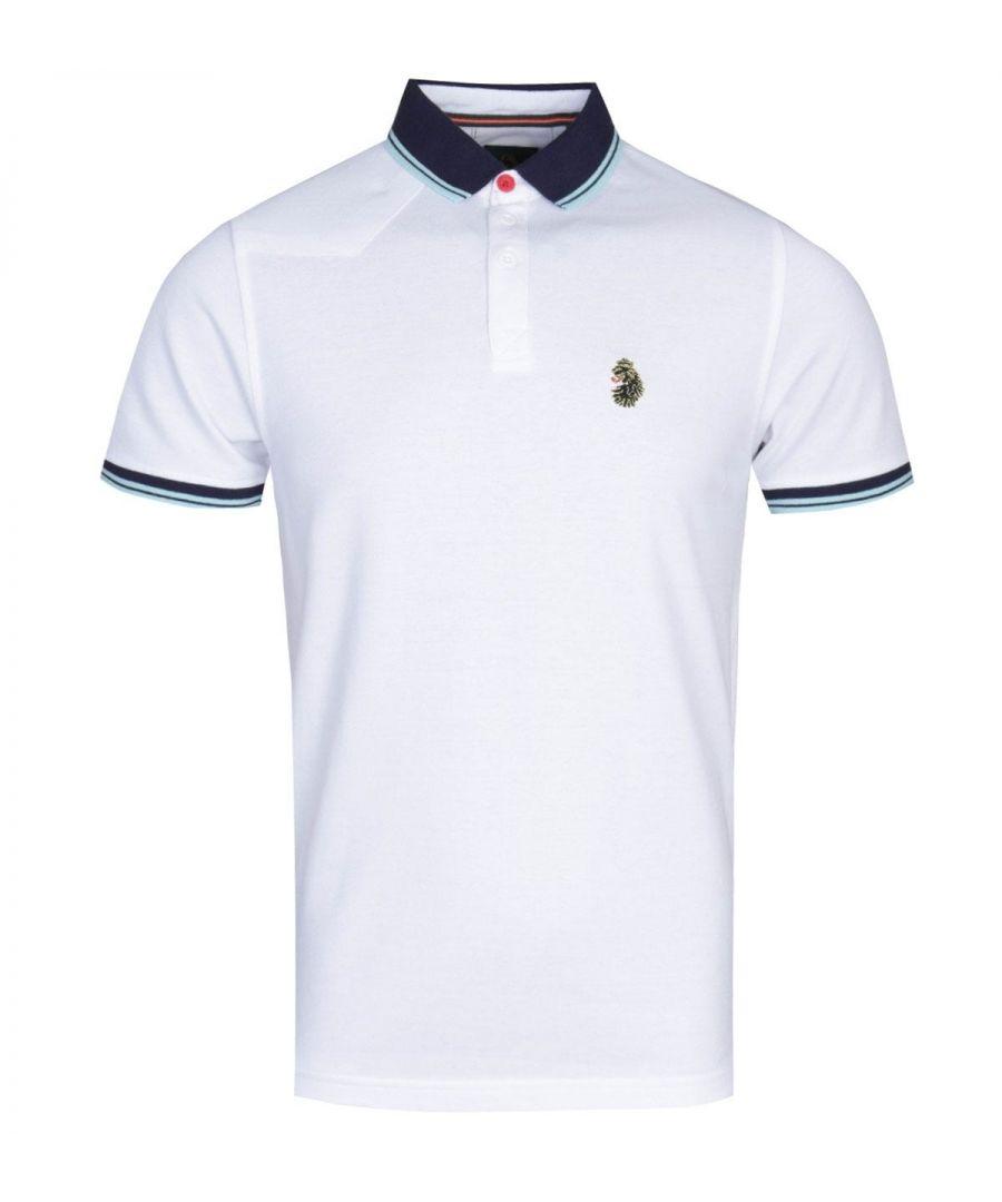 Image for Luke 1977 Regular Fit Tipped White Polo Shirt