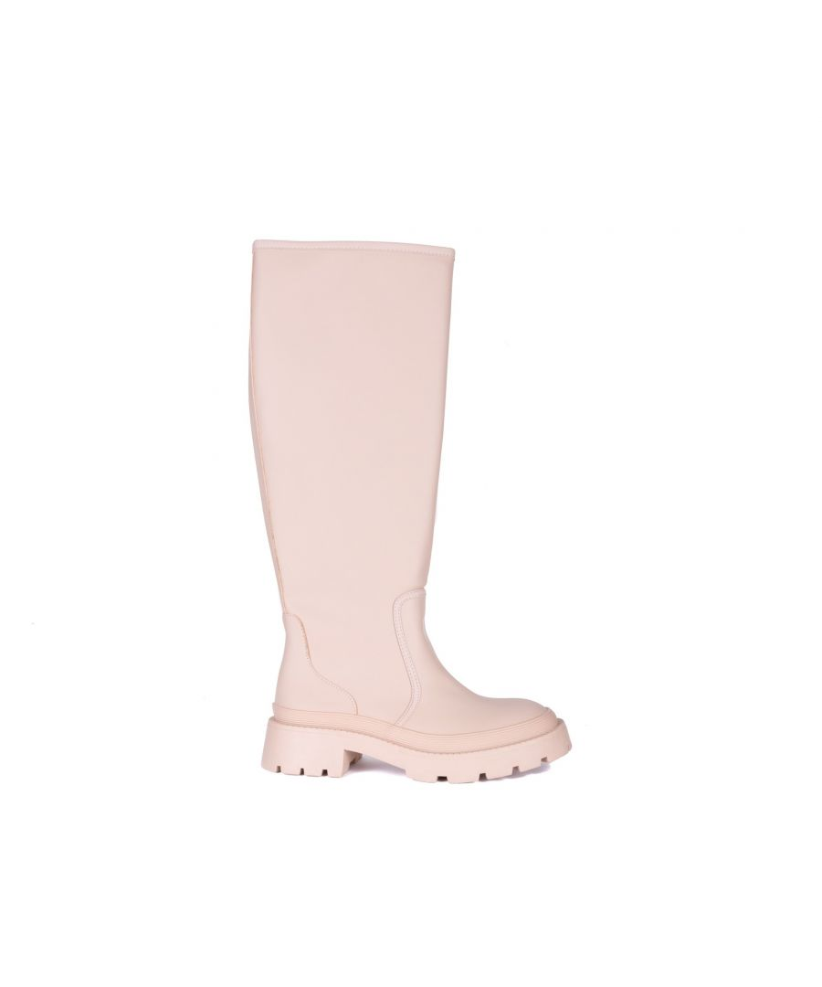 Image for María Barceló High Flat Boot in Beige